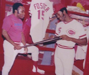 Morgan and Foster with a bat