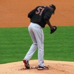 Chapman preparing the mound before the game