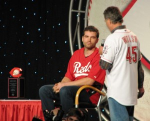 Chris Welsh presenting Votto with the Ernie Lombardi award.