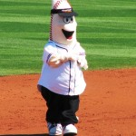 Full body shot of the weird Goodyear mascot
