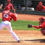 Mesoraco letting a pitch go by