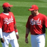 Phillips and Gomes chatting during warmups.
