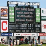 The scoreboard after the March 13, 2013 game at Goodyear Ballpark
