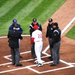 Hatcher hands the Reds lineup to the umpires