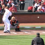 The first pitch of Jay Bruce's at bat that would produce the Reds' first run.