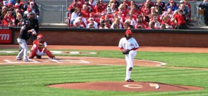 Johnny Cueto's first pitch of the 2012 season.