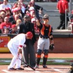 Joey Votto goes through his at-bat ritual before his first 2012 at bat.