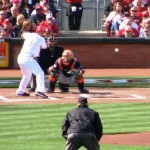 Joey Votto sees the first pitch from Mark Buehrle.