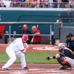 Joey Votto takes a ball during his first at bat on Opening Night.