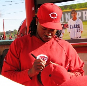 Johnny Cueto brought his own Sharpie to sign.