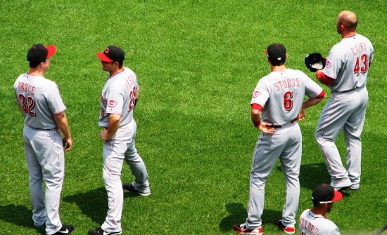 Bruce, Heisey, Stubbs, and Cairo warming up before the game