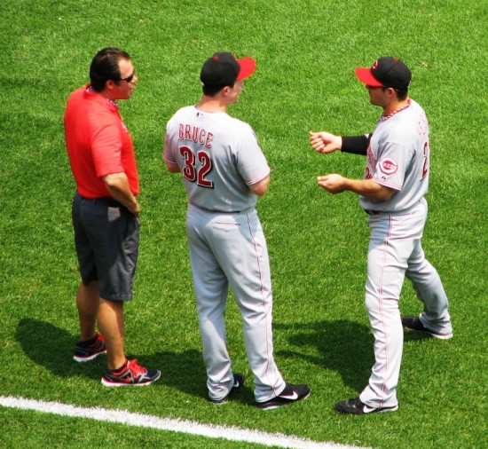 Bruce and Heisey chatting during their warmup