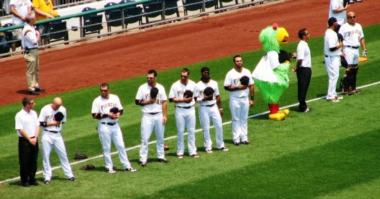 The Pirates--and the Parrot--during the national anthem