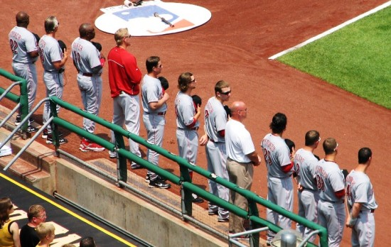 The Reds lined up during the national anthem