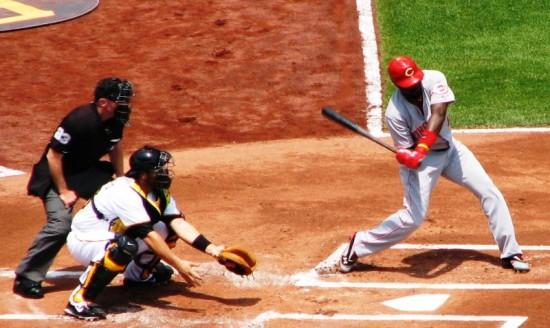 Phillips checks his swing