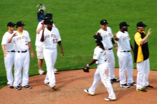 The Pirates congratulate themselves on getting to .500