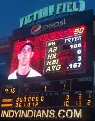Scoreboard at Victory Field