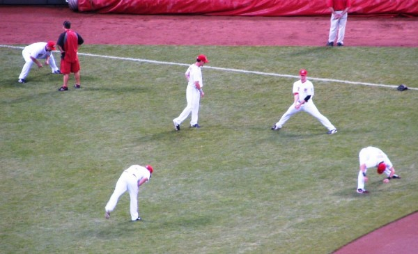 Scott Rolen, Ryan Ludwick, Zack Cozart, and Jay Bruce warmed up in right field before the game.