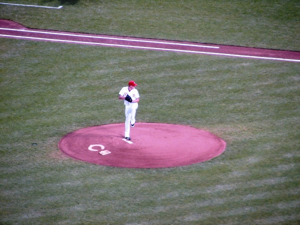 Mat Latos' first pitch. Unfortunately, it was all downhill from here.
