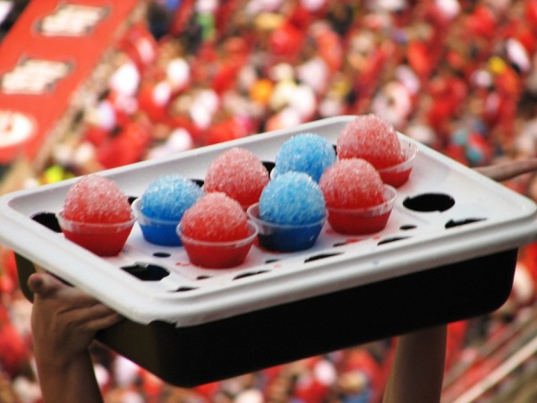 The only bright spot in the game: red and blue snowcones.