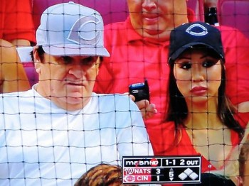 Pete Rose showing off his excellent taste in head-gear.