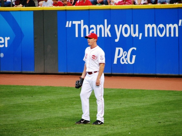 Jay Bruce thanks his mom for being a major league right fielder.