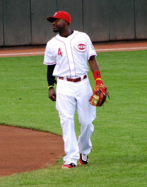 Brandon Phillips patrols his territory between outs in the first inning.