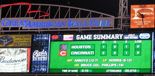 The scoreboard showing the Reds only win against the Astros during the series.
