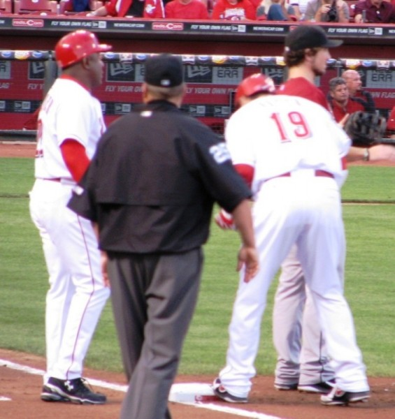 Batting or fielding, Joey Votto spends a lot of time on first base.