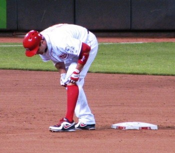 Once on second, Joey Votto put on a knee brace.