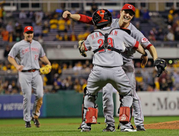Homer Bailey celebrating after throwing a no-hitter in 2012.