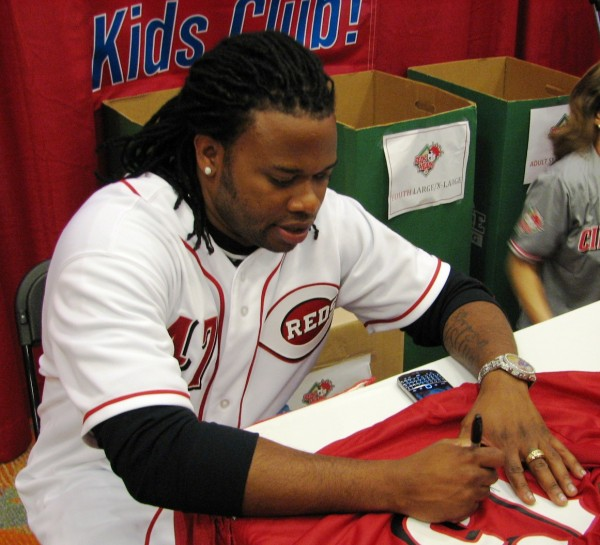 Johnny Cueto made a special appearance at the RedsHeads booth to sign for the kids.