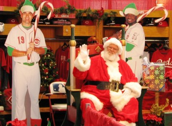 Also in the expanded kids' section was the opportunity to have your picture taken with Santa and Joey Votto and Brandon Phillips dressed as elves.