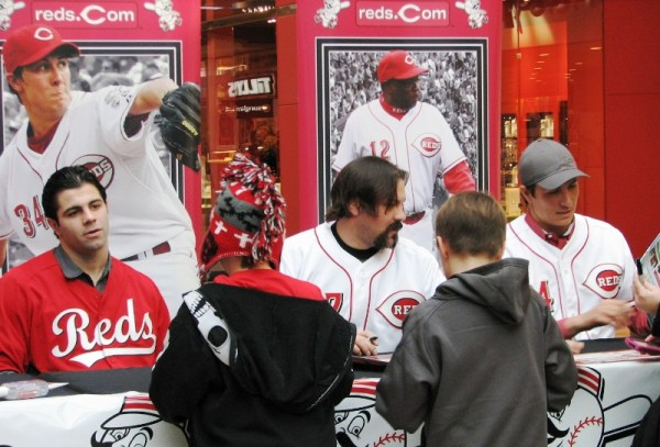 Ryan Lamarre, Corky Miller, and Homer Bailey signed their names hundreds of times at this one stop.
