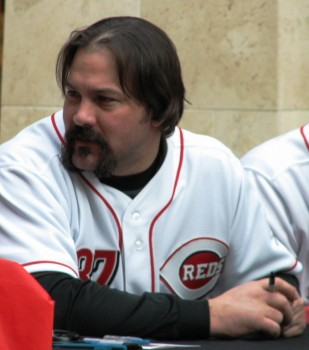 Corky Miller, a fan-favorite, shows off his excellent facial hair-growing skills.