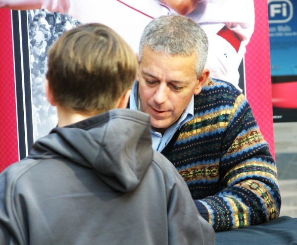Thom Brennaman, for all his faults as a broadcaster, is very good at interacting with young fans.