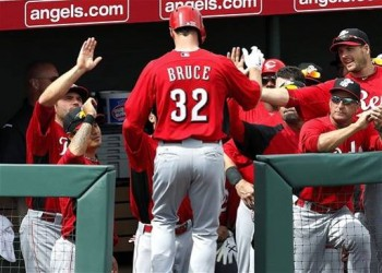 Jay Bruce returns to the dugout after hitting a home run.