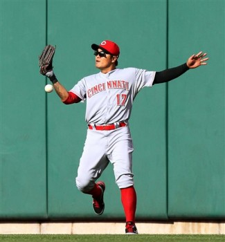 Shin-Soo Choo drops a fly ball in center field against the Cardinals.