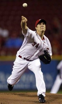 Homer Bailey pitches during an excellent outing April 16  (AP Photo/Al Behrman)