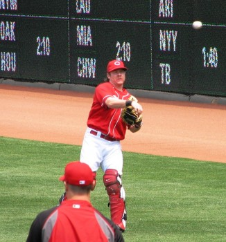 Ryan Hanigan long tossing before a game.