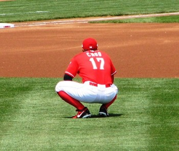 Shin-Soo Choo stretches before the game.
