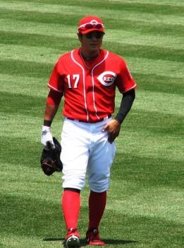 Shin-Soo Choo walks to his spot in center field.