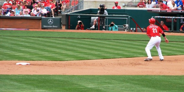 Frazier leads off from second base