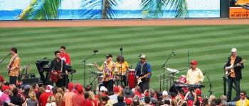 The Beach Boys perform after the game.