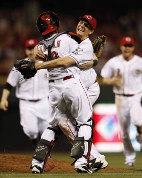 Homer Bailey and Ryan Hanigan celebrate after the recording of the last out of his second no-hitter.