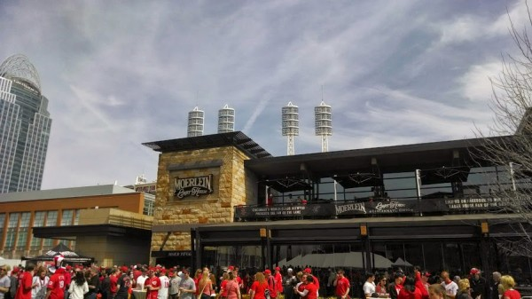 The Great American Ball Park light stacks appear above the Moerlein Lager House.