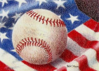 Baseball and Flag.