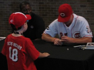 Jay Bruce autographing at Reds Heads