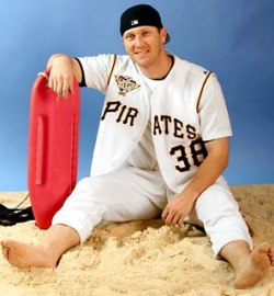 Apparently, Jason Bay goes to the beach in his Pirates uniform