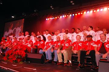 Almost 50 current and former players were together on stage to kickoff Redsfest XI. Credit: The Cincinnati Reds